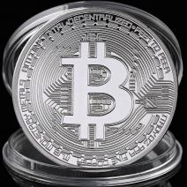 Moneta Bitcoin - Srebrny