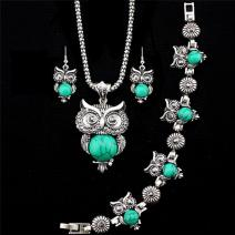 Set Antique Owl - Turkus