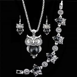 Set Antique Owl - Czarny