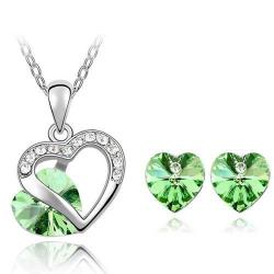 Set Heart Crystal - Zielony