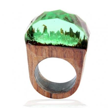 Pierścionek Wood Resin Typ4 - Zielony/59mm
